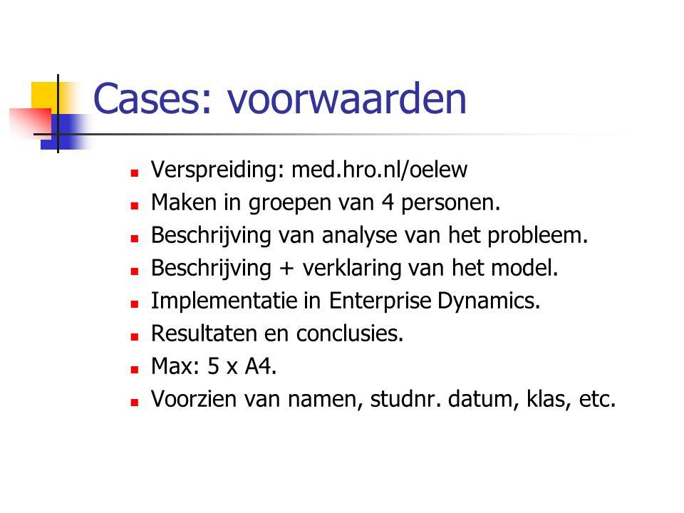 Cases: voorwaarden Verspreiding: med.hro.nl/oelew Maken in groepen van 4 personen. Beschrijving van analyse van het probleem. Beschrijving + verklarin