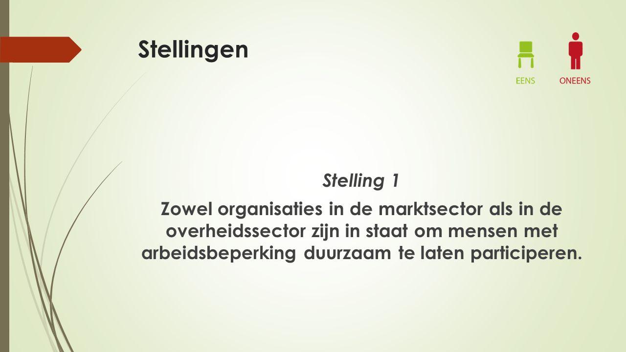 Stellingen Stelling 1 Zowel organisaties in de marktsector als in de overheidssector zijn in staat om mensen met arbeidsbeperking duurzaam te laten participeren.