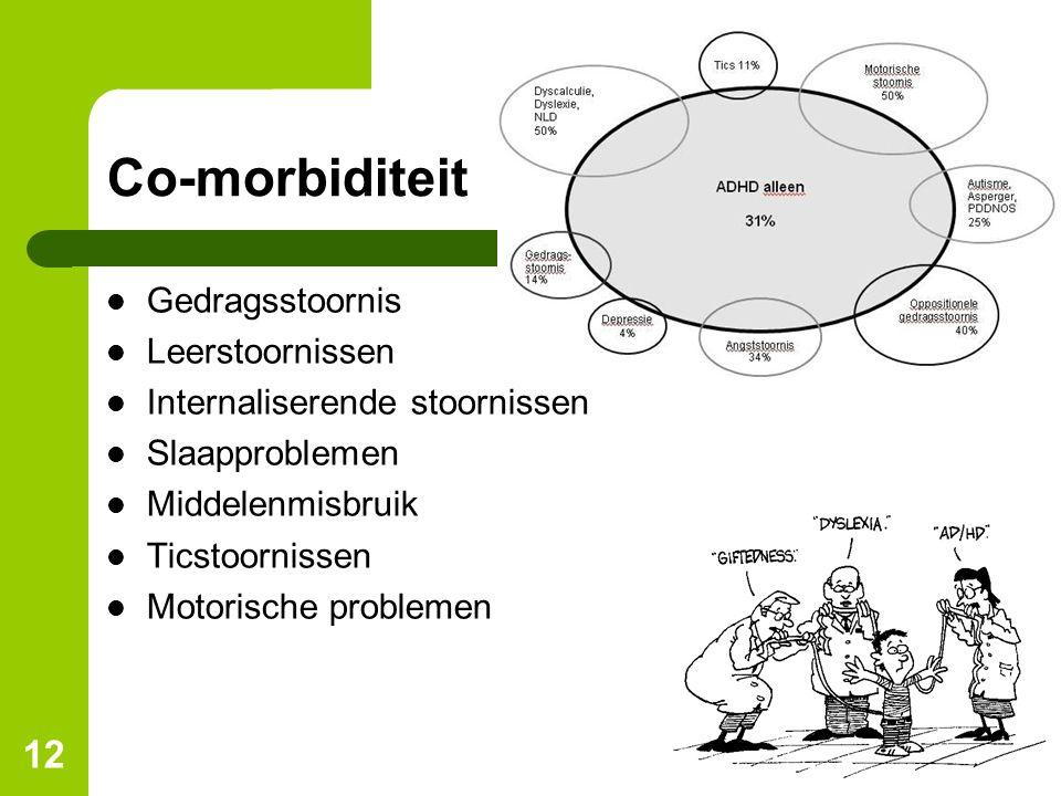 12 Co-morbiditeit Gedragsstoornis Leerstoornissen Internaliserende stoornissen Slaapproblemen Middelenmisbruik Ticstoornissen Motorische problemen
