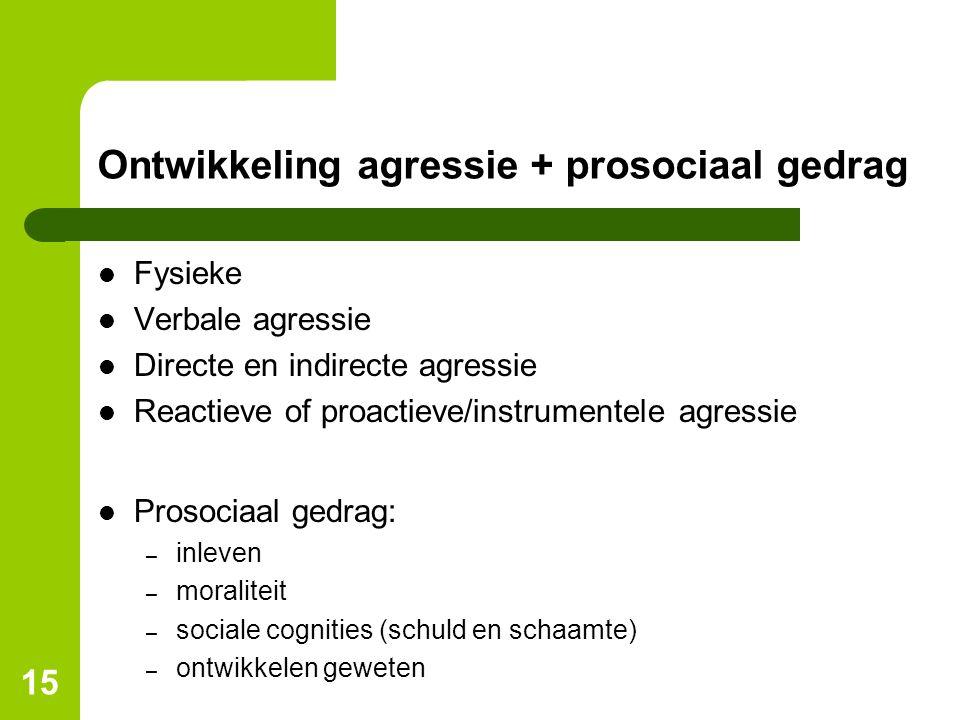 Ontwikkeling agressie + prosociaal gedrag Fysieke Verbale agressie Directe en indirecte agressie Reactieve of proactieve/instrumentele agressie Prosoc