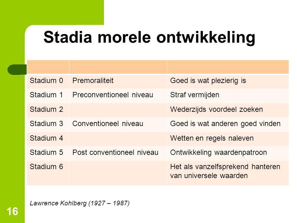 Stadia morele ontwikkeling Stadium 0PremoraliteitGoed is wat plezierig is Stadium 1Preconventioneel niveauStraf vermijden Stadium 2Wederzijds voordeel