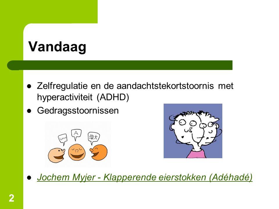 2 Vandaag Zelfregulatie en de aandachtstekortstoornis met hyperactiviteit (ADHD) Gedragsstoornissen Jochem Myjer - Klapperende eierstokken (Adéhadé)
