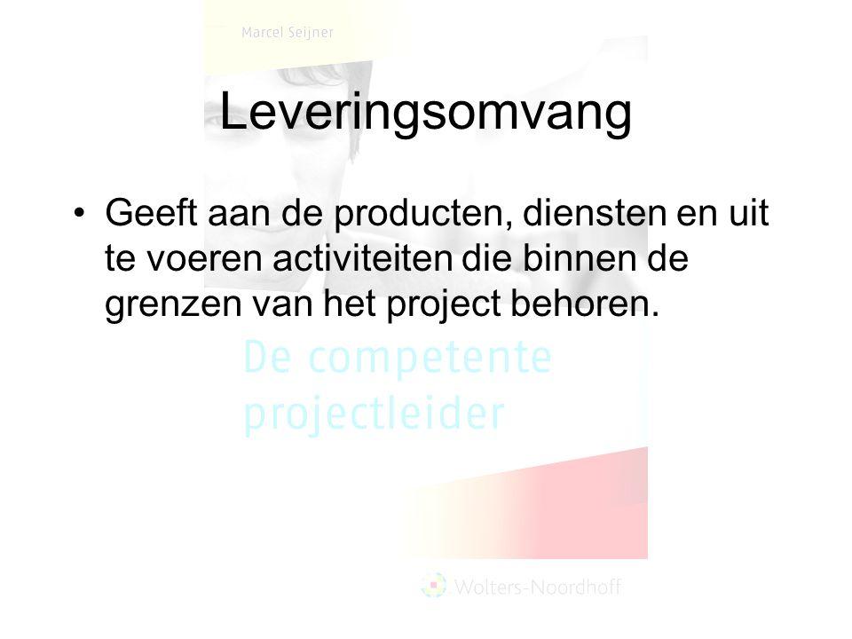 Leveringsomvang Geeft aan de producten, diensten en uit te voeren activiteiten die binnen de grenzen van het project behoren.