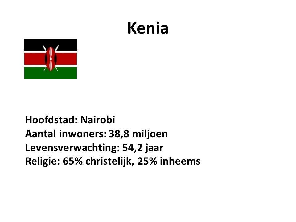 Kenia Hoofdstad: Nairobi Aantal inwoners: 38,8 miljoen Levensverwachting: 54,2 jaar Religie: 65% christelijk, 25% inheems