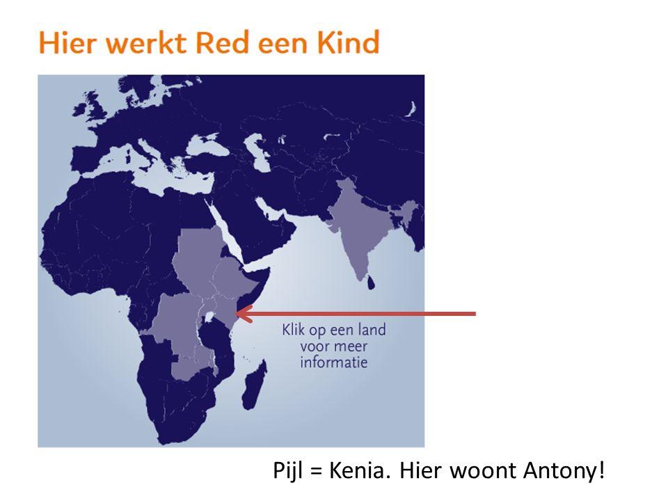 Pijl = Kenia. Hier woont Antony!