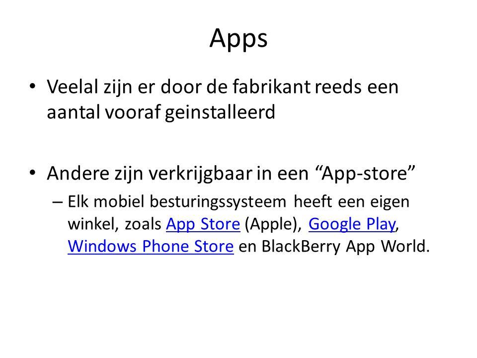 Apps : Soorten Web-app Een web-app is een mobiele versie van een website, waarbij alleen de belangrijkste onderdelen worden getoond.