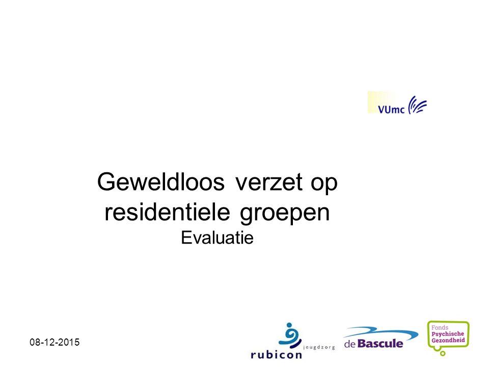 Geweldloos verzet op residentiele groepen Evaluatie Child- and Adolecsent Psychiatry Kirsten van Gink k.vangink@debascule.com 08-12-2015