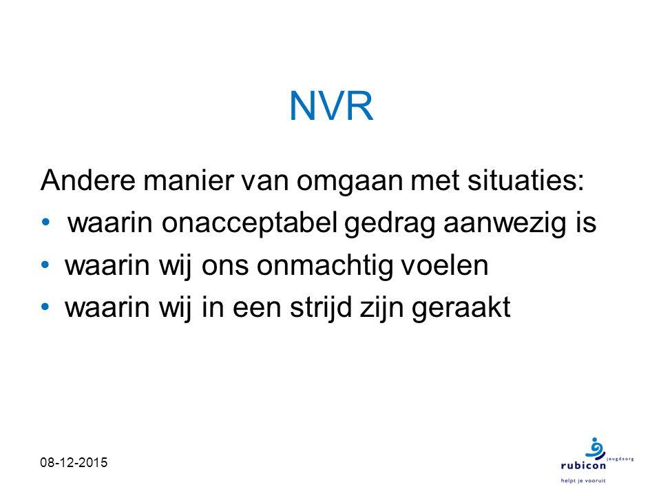 NVR Actieve vorm van verzet met focus op ons eigen gedrag Niet meer afhankelijk van samenwerking met de ander.