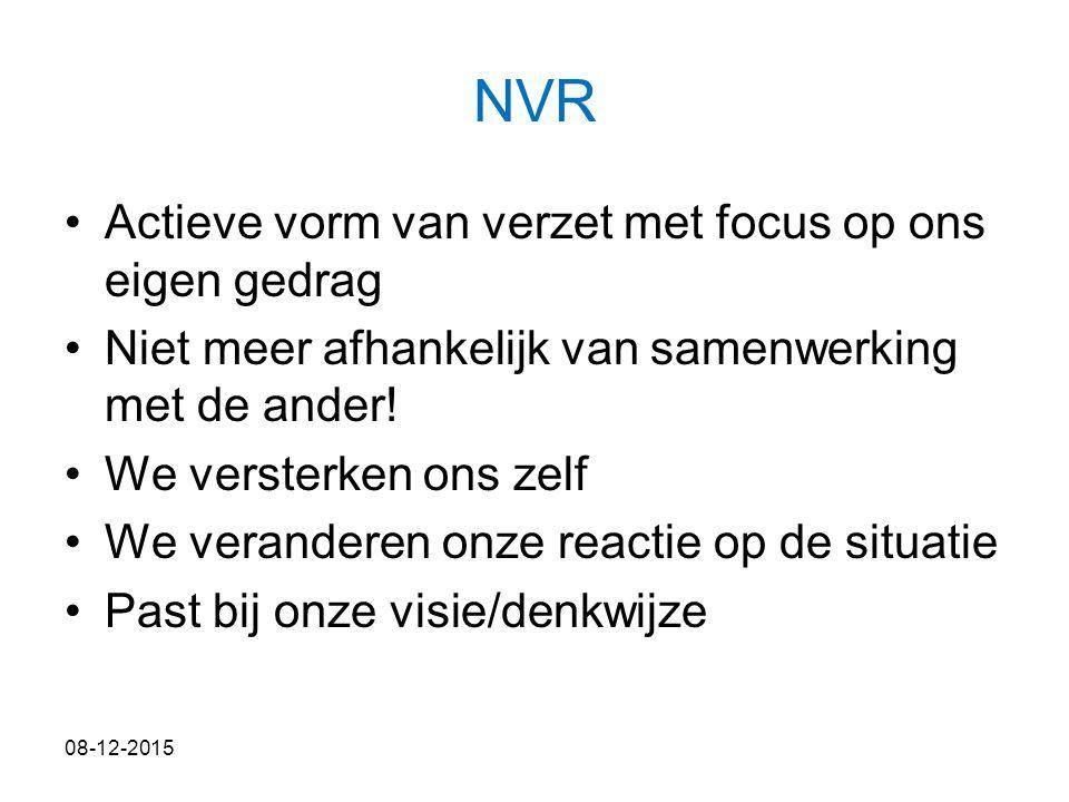 NVR Actieve vorm van verzet met focus op ons eigen gedrag Niet meer afhankelijk van samenwerking met de ander! We versterken ons zelf We veranderen on