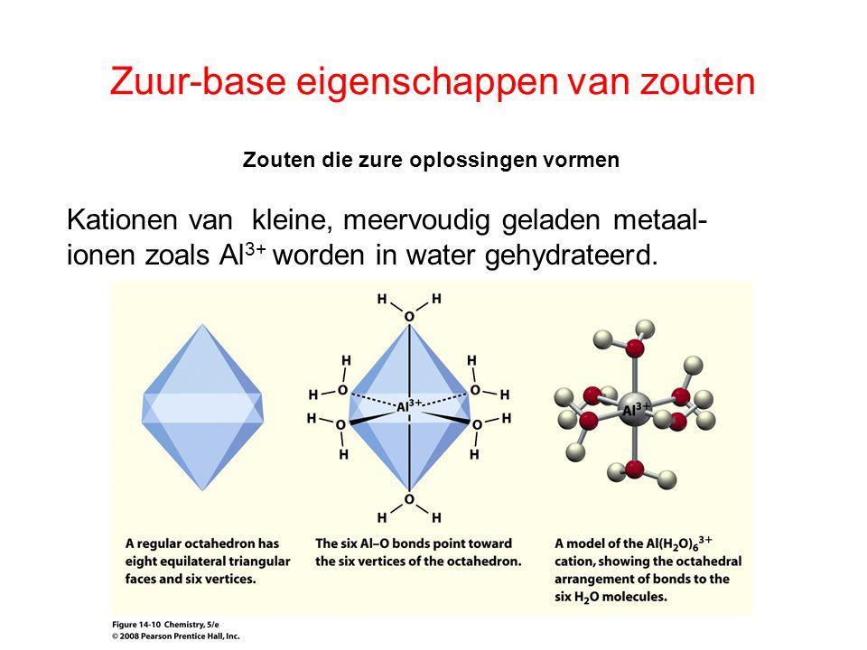 Zuur-base eigenschappen van zouten Zouten die zure oplossingen vormen De gehydrateerde kationen kunnen reageren met water en daarbij een H + afstaan, waardoor met H 2 O een H 3 O + gevormd wordt.