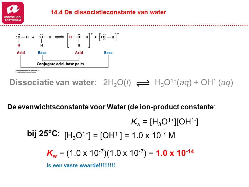 H 3 O 1+ (aq) + OH 1- (aq)2H 2 O(l) K w = [H 3 O 1+ ][OH 1- ] De evenwichtsconstante voor Water (de ion-product constante: Dissociatie van water: K w