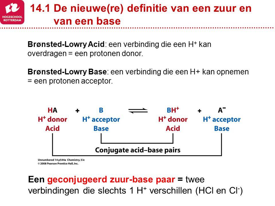 Een geconjugeerd zuur-base paar = twee verbindingen die slechts 1 H + verschillen (HCl en Cl - ) Brønsted-Lowry Acid: een verbinding die een H + kan o