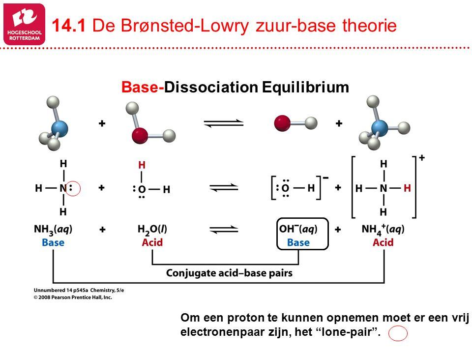 """Base-Dissociation Equilibrium Om een proton te kunnen opnemen moet er een vrij electronenpaar zijn, het """"lone-pair"""". 14.1 De Brønsted-Lowry zuur-base"""