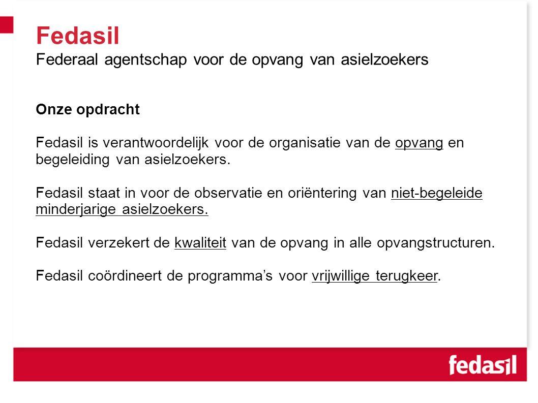 Fedasil Federaal agentschap voor de opvang van asielzoekers Onze opdracht Fedasil is verantwoordelijk voor de organisatie van de opvang en begeleiding van asielzoekers.