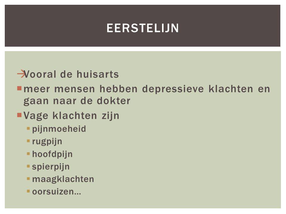  Vooral de huisarts  meer mensen hebben depressieve klachten en gaan naar de dokter  Vage klachten zijn  pijnmoeheid  rugpijn  hoofdpijn  spier