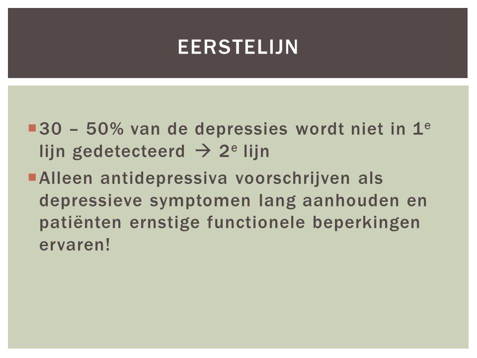  30 – 50% van de depressies wordt niet in 1 e lijn gedetecteerd  2 e lijn  Alleen antidepressiva voorschrijven als depressieve symptomen lang aanho