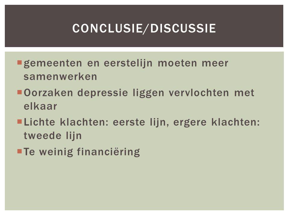 gemeenten en eerstelijn moeten meer samenwerken  Oorzaken depressie liggen vervlochten met elkaar  Lichte klachten: eerste lijn, ergere klachten: