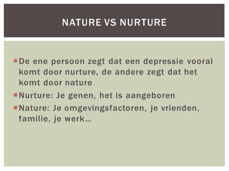  De ene persoon zegt dat een depressie vooral komt door nurture, de andere zegt dat het komt door nature  Nurture: Je genen, het is aangeboren  Nat
