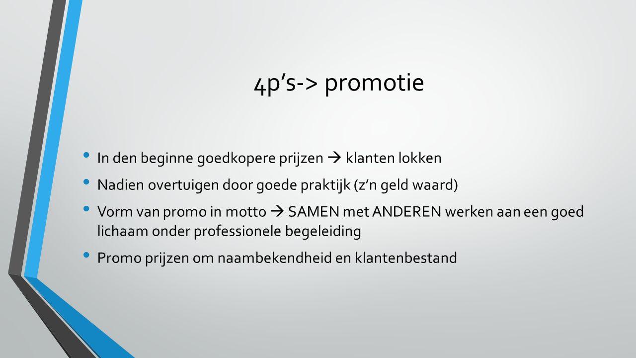 4p's-> promotie In den beginne goedkopere prijzen  klanten lokken Nadien overtuigen door goede praktijk (z'n geld waard) Vorm van promo in motto  SA