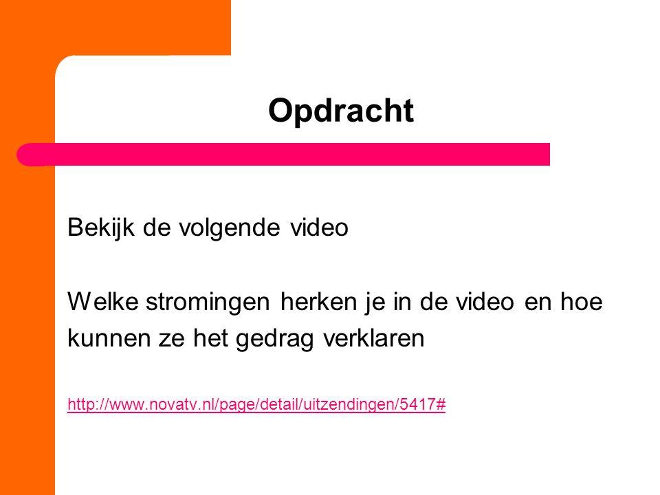Opdracht Bekijk de volgende video Welke stromingen herken je in de video en hoe kunnen ze het gedrag verklaren http://www.novatv.nl/page/detail/uitzendingen/5417#