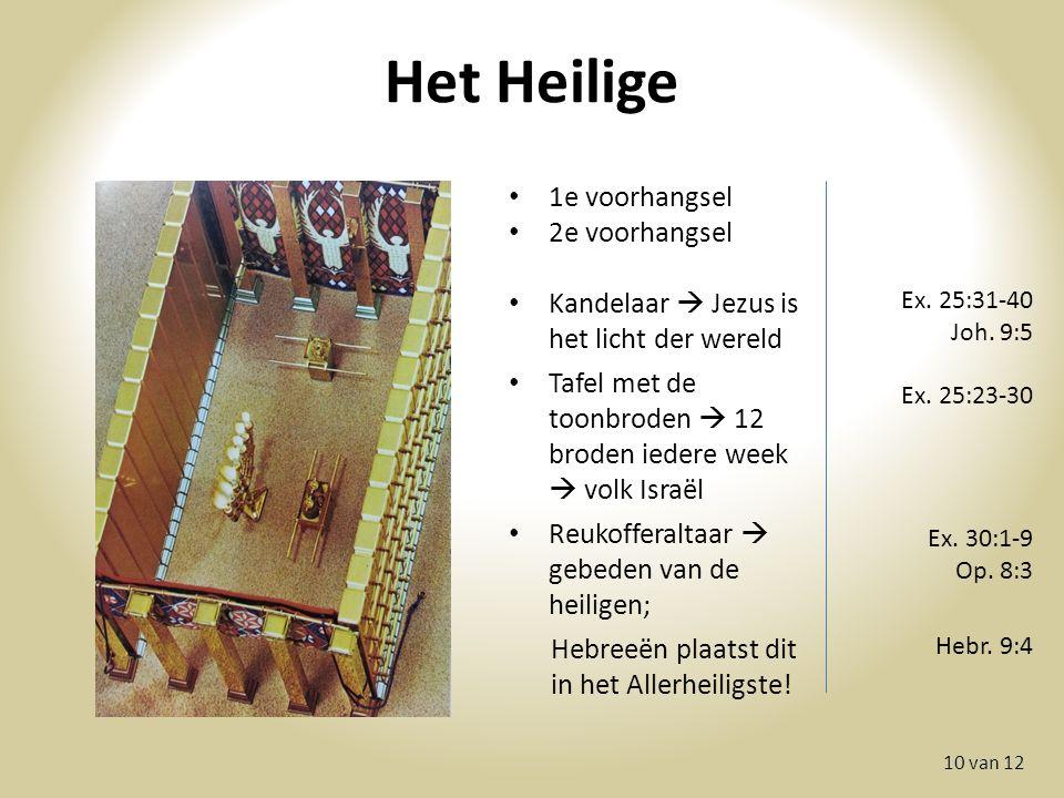 Het Heilige 10 van 12 1e voorhangsel 2e voorhangsel Kandelaar  Jezus is het licht der wereld Tafel met de toonbroden  12 broden iedere week  volk Israël Reukofferaltaar  gebeden van de heiligen; Hebreeën plaatst dit in het Allerheiligste.