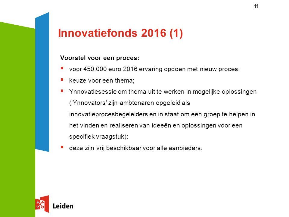 Innovatiefonds 2016 (1) Voorstel voor een proces:  voor 450.000 euro 2016 ervaring opdoen met nieuw proces;  keuze voor een thema;  Ynnovatiesessie om thema uit te werken in mogelijke oplossingen ('Ynnovators' zijn ambtenaren opgeleid als innovatieprocesbegeleiders en in staat om een groep te helpen in het vinden en realiseren van ideeën en oplossingen voor een specifiek vraagstuk);  deze zijn vrij beschikbaar voor alle aanbieders.
