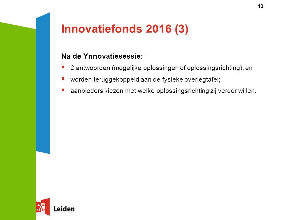Innovatiefonds 2016 (3) Na de Ynnovatiesessie:  2 antwoorden (mogelijke oplossingen of oplossingsrichting); en  worden teruggekoppeld aan de fysieke overlegtafel;  aanbieders kiezen met welke oplossingsrichting zij verder willen.