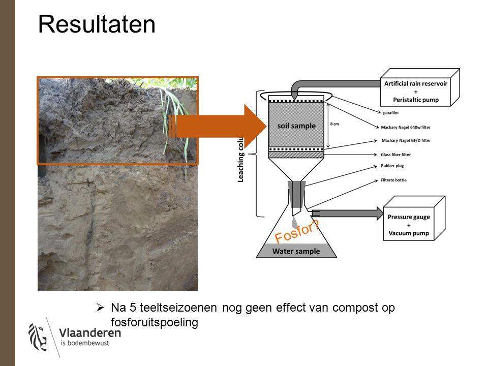 Fosfor  Na 5 teeltseizoenen nog geen effect van compost op fosforuitspoeling