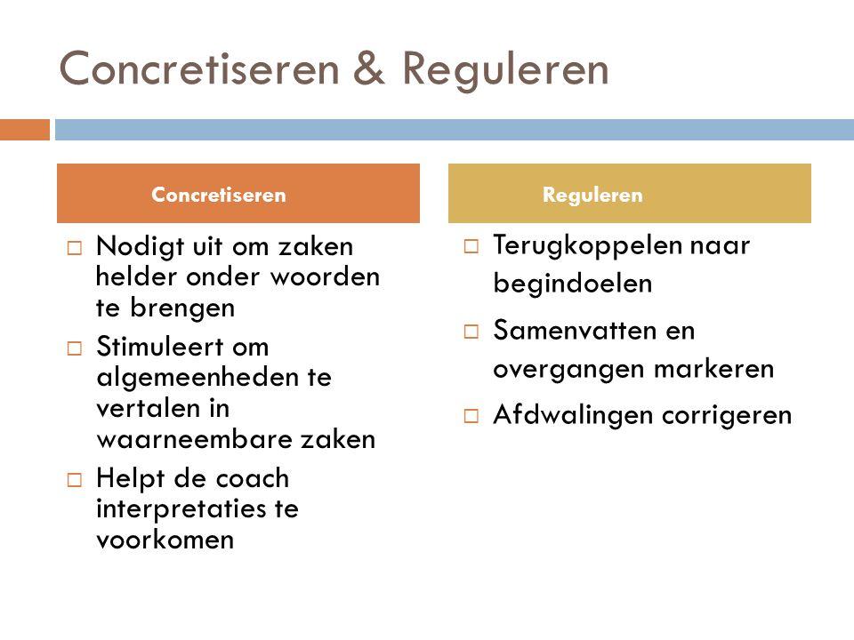 Concretiseren & Reguleren  Nodigt uit om zaken helder onder woorden te brengen  Stimuleert om algemeenheden te vertalen in waarneembare zaken  Helpt de coach interpretaties te voorkomen  Terugkoppelen naar begindoelen  Samenvatten en overgangen markeren  Afdwalingen corrigeren ConcretiserenReguleren