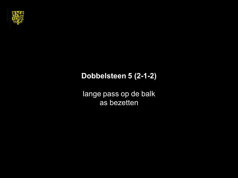 Dobbelsteen 5 (2-1-2) lange pass op de balk as bezetten