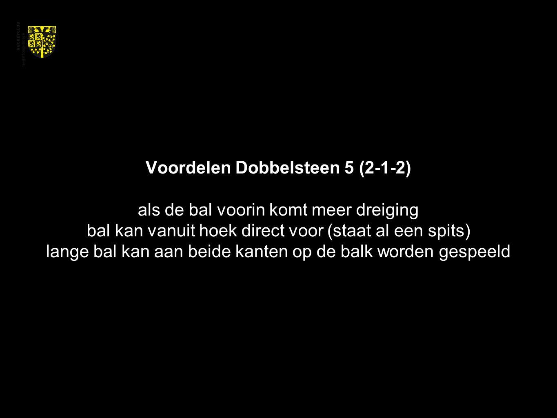 Voordelen Dobbelsteen 5 (2-1-2) als de bal voorin komt meer dreiging bal kan vanuit hoek direct voor (staat al een spits) lange bal kan aan beide kant