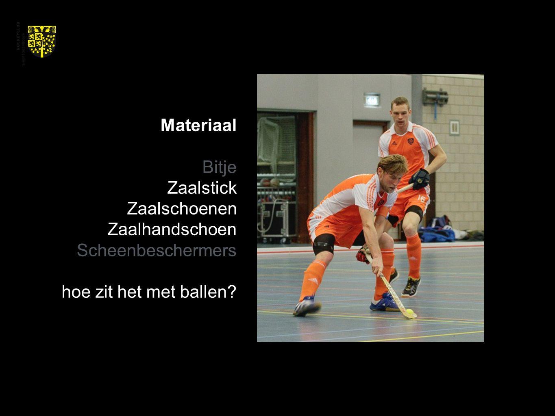 Materiaal Bitje Zaalstick Zaalschoenen Zaalhandschoen Scheenbeschermers hoe zit het met ballen?