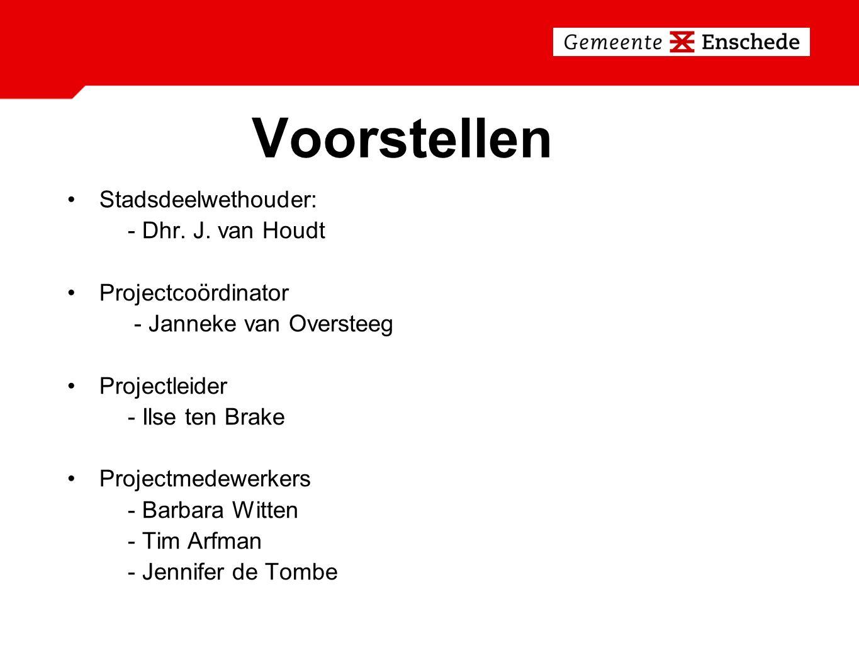Voorstellen Stadsdeelwethouder: - Dhr. J. van Houdt Projectcoördinator - Janneke van Oversteeg Projectleider - Ilse ten Brake Projectmedewerkers - Bar