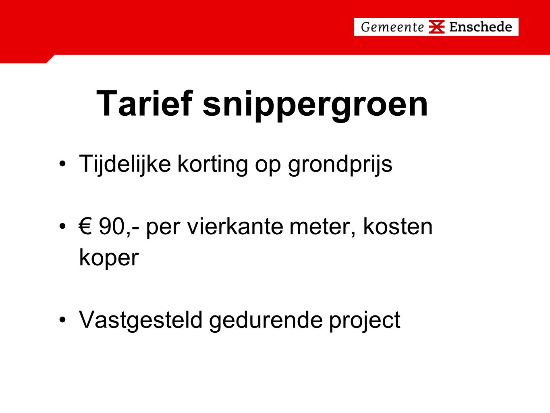 Tarief snippergroen Tijdelijke korting op grondprijs € 90,- per vierkante meter, kosten koper Vastgesteld gedurende project