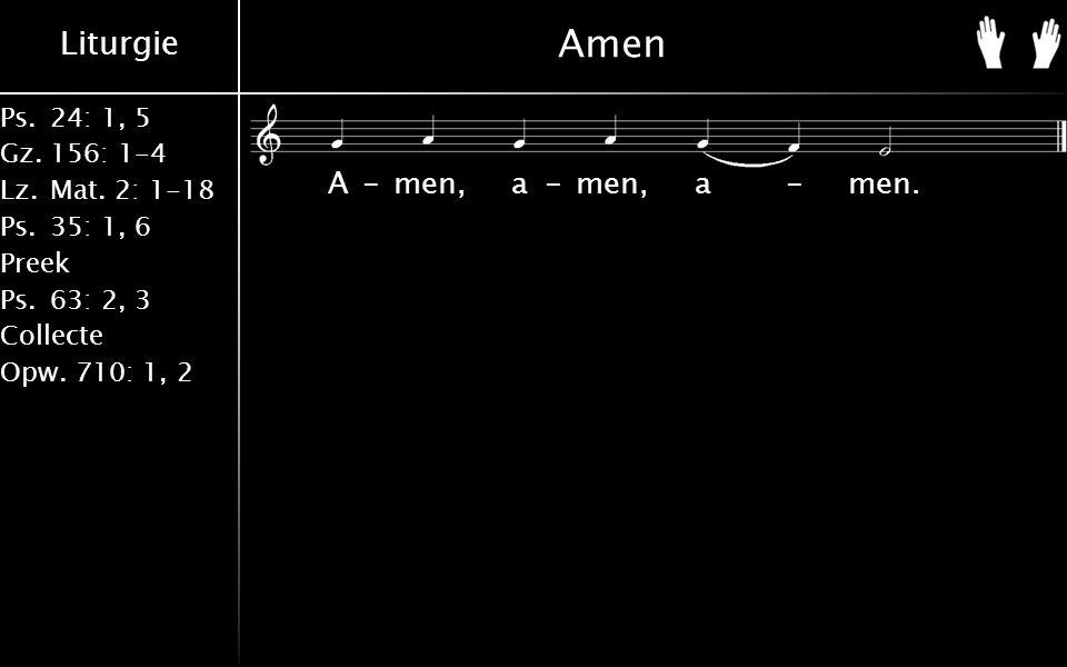 Liturgie Ps.24: 1, 5 Gz.156: 1-4 Lz. Mat. 2: 1-18 Ps. 35: 1, 6 Preek Ps. 63: 2, 3 Collecte Opw. 710: 1, 2 Amen A-men, a-men, a-men.