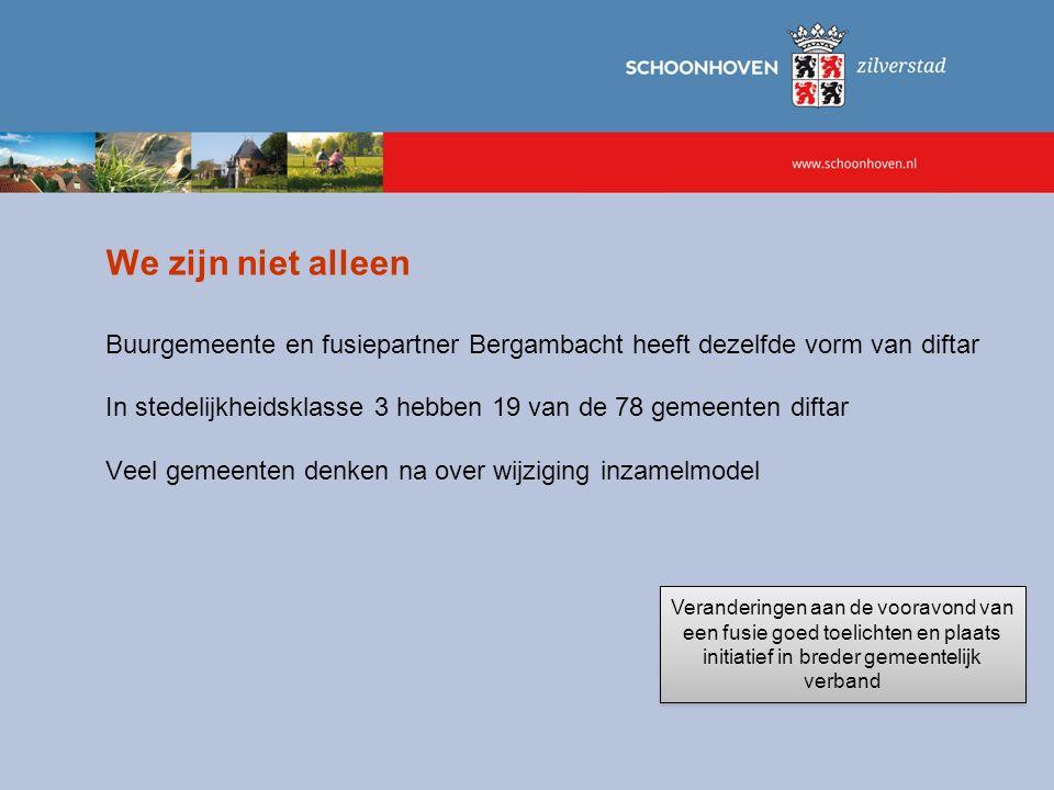 We zijn niet alleen Buurgemeente en fusiepartner Bergambacht heeft dezelfde vorm van diftar In stedelijkheidsklasse 3 hebben 19 van de 78 gemeenten di