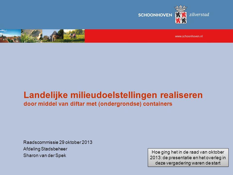 Landelijke milieudoelstellingen realiseren door middel van diftar met (ondergrondse) containers Raadscommissie 29 oktober 2013 Afdeling Stadsbeheer Sh