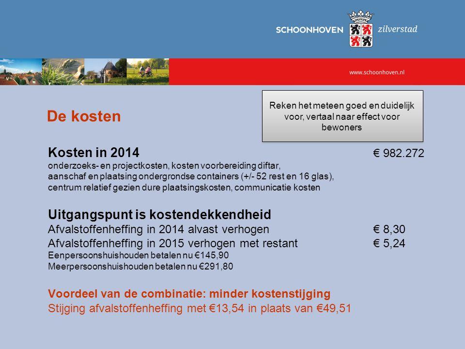 De kosten Kosten in 2014 € 982.272 onderzoeks- en projectkosten, kosten voorbereiding diftar, aanschaf en plaatsing ondergrondse containers (+/- 52 re