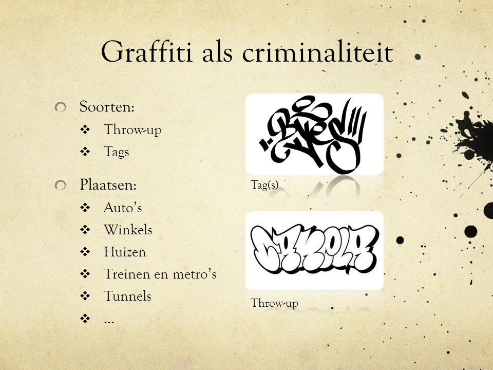 Graffiti als criminaliteit Soorten:  Throw-up  Tags Plaatsen:  Auto's  Winkels  Huizen  Treinen en metro's  Tunnels …… Throw-up Tag(s)