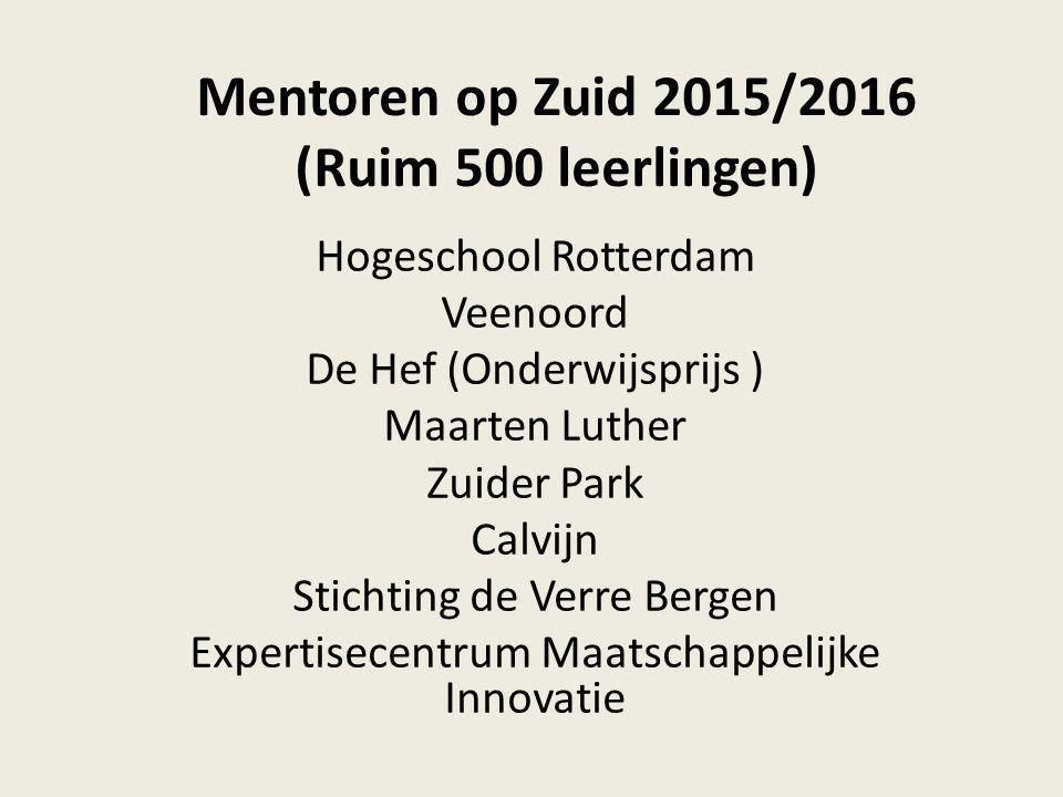 Mentoren op Zuid 2015/2016 (Ruim 500 leerlingen) Hogeschool Rotterdam Veenoord De Hef (Onderwijsprijs ) Maarten Luther Zuider Park Calvijn Stichting d