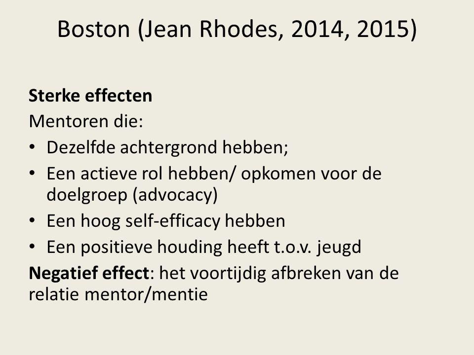 Boston (Jean Rhodes, 2014, 2015) Sterke effecten Mentoren die: Dezelfde achtergrond hebben; Een actieve rol hebben/ opkomen voor de doelgroep (advocac