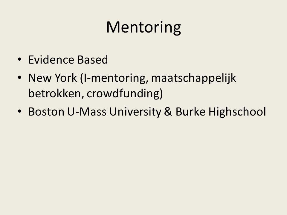 Mentoring Evidence Based New York (I-mentoring, maatschappelijk betrokken, crowdfunding) Boston U-Mass University & Burke Highschool