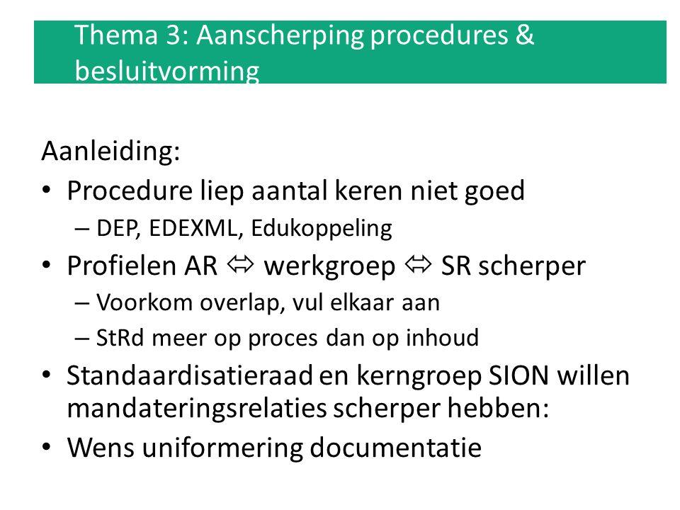 Thema 3: Aanscherping procedures & besluitvorming Aanleiding: Procedure liep aantal keren niet goed – DEP, EDEXML, Edukoppeling Profielen AR  werkgro
