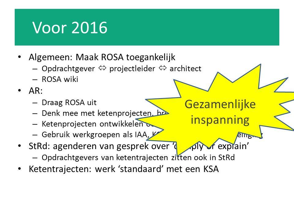 Voor 2016 Algemeen: Maak ROSA toegankelijk – Opdrachtgever  projectleider  architect – ROSA wiki AR: – Draag ROSA uit – Denk mee met ketenprojecten, breng nuttige assets / kennis in – Ketenprojecten ontwikkelen ook nieuwe architectuur – Gebruik werkgroepen als IAA, KOI/SPO, Informatiebeveiliging StRd: agenderen van gesprek over 'comply or explain' – Opdrachtgevers van ketentrajecten zitten ook in StRd Ketentrajecten: werk 'standaard' met een KSA Gezamenlijke inspanning