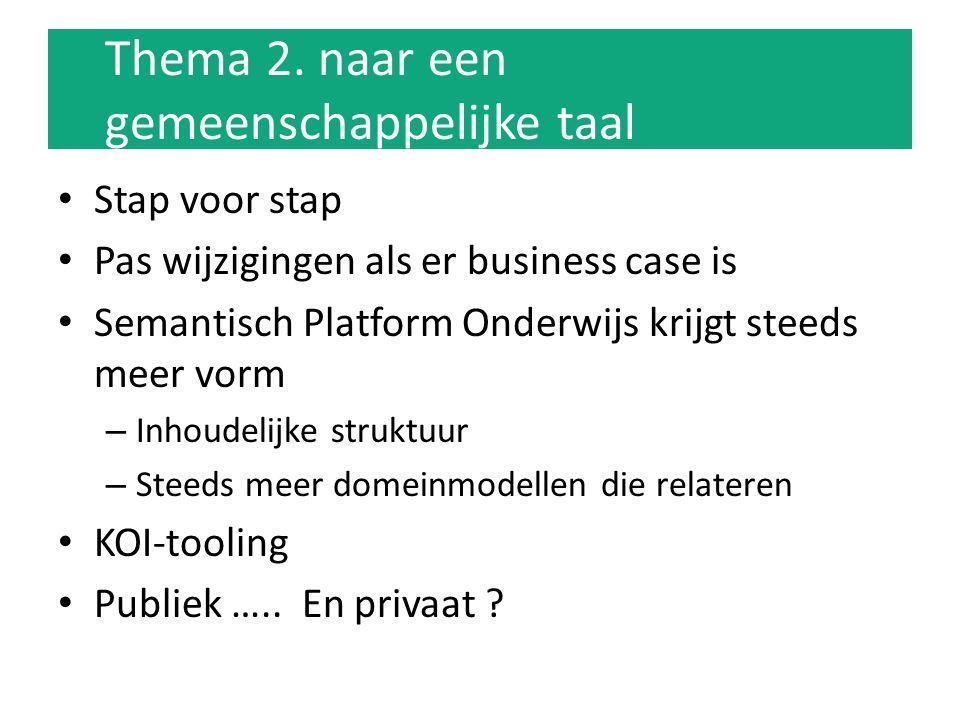 Thema 2. naar een gemeenschappelijke taal Stap voor stap Pas wijzigingen als er business case is Semantisch Platform Onderwijs krijgt steeds meer vorm