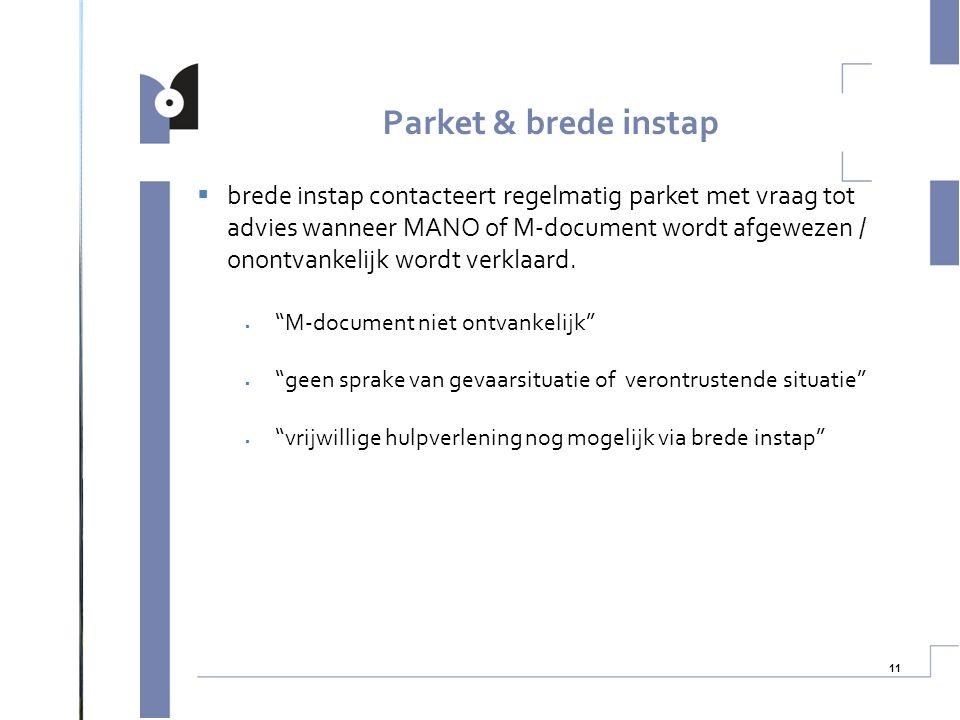 """11  brede instap contacteert regelmatig parket met vraag tot advies wanneer MANO of M-document wordt afgewezen / onontvankelijk wordt verklaard.  """"M"""