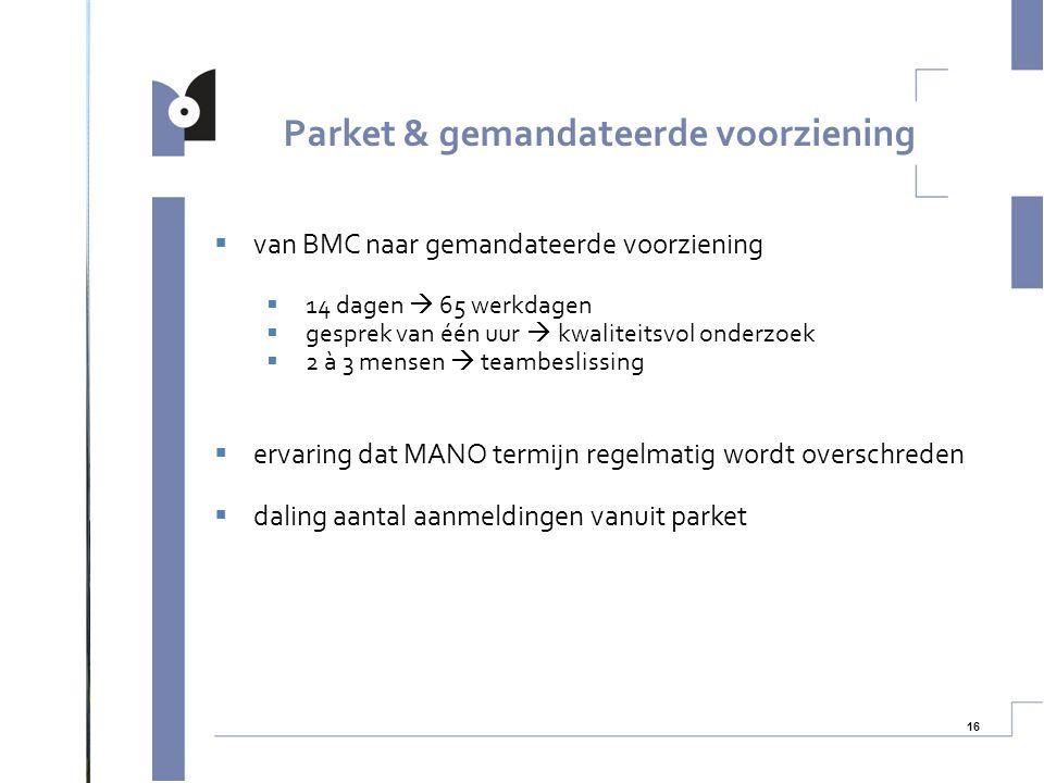 16  van BMC naar gemandateerde voorziening  14 dagen  65 werkdagen  gesprek van één uur  kwaliteitsvol onderzoek  2 à 3 mensen  teambeslissing