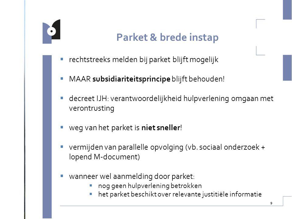 10  parket als ombudsdienst tussen brede instap & gemandateerde voorziening? Parket & brede instap