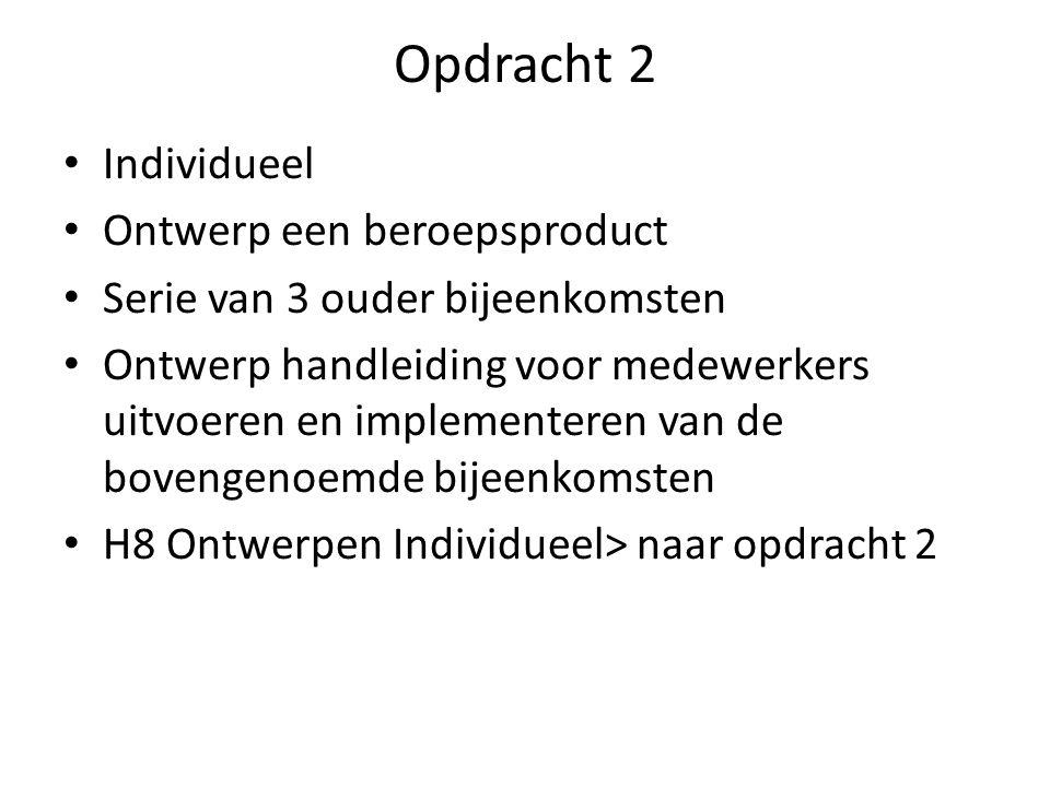 Opdracht 2 Individueel Ontwerp een beroepsproduct Serie van 3 ouder bijeenkomsten Ontwerp handleiding voor medewerkers uitvoeren en implementeren van de bovengenoemde bijeenkomsten H8 Ontwerpen Individueel> naar opdracht 2