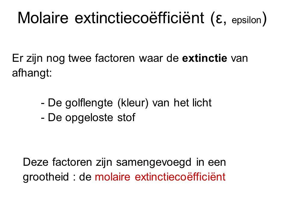 Molaire extinctiecoëfficiënt (ε, epsilon ) Er zijn nog twee factoren waar de extinctie van afhangt: - De golflengte (kleur) van het licht - De opgelos